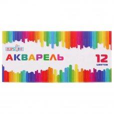 ClipStudio Краски акварельные медовые, 12 цветов, без кисти, в картонной упаковке