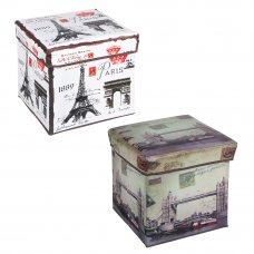 Пуфик-куб складной, ПУ, спанбонд, картон, 31х31х31см, до 80 кг, Путешествия, 2 дизайна