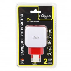 FORZA Зарядное устройство USB Акварель, 220В, 2USB, 2А, пластик, цветное