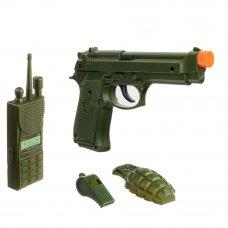 ИГРОЛЕНД Набор оружия: пистолет, граната, рация, свисток, 4пр.,ABS,PE , 11х18х2,5см