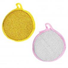 VETTA Губка для посуды поролон, d12см, 2 цвета, 1шт