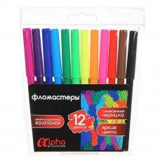 """ClipStudio Фломастеры 12 цветов """"Альфа"""", с цв.вент.колпачком, большие, смываемые, пластик, ПРЕМИУМ"""