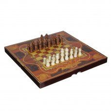 LDGames Набор игр 3 в 1 (шашки, шахматы, нарды), дерево, 40х40см (40х20х6см)