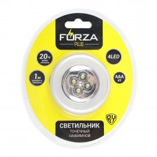 FORZA Светильник точечный нажимной, 6,5см, 3xААА, 4 LED, пластик