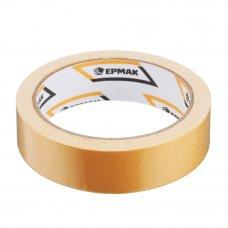 ЕРМАК Клейкая лента двухсторонняя 25мм х 10м, (ткань осн., инд.упаковка)