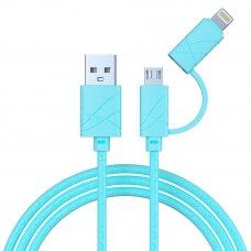 FORZA Кабель для зарядки 2 в 1, iP и Micro USB, 1 м, 2А, плоский кабель, колпачки для штекеров