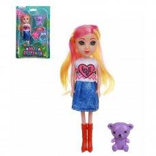ИГРОЛЕНД Кукла с цветными волосами, 15 см, PP,PVC, полиэстер, 6х17,5х5см, 6 дизайнов