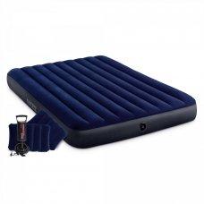 INTEX Кровать надувная Classic downy (Fiber tech) Квин, руч.насос, 2 подушки,1,52x2,03м x 25см,64765
