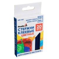 HEADMAN Стержни клеевые 20шт, 7,2x100мм, цветные, набор на блистере