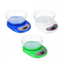 VETTA Весы кухонные электрон., ЖК-дисплей, с пластиковой чашей 1л, нагрузка до 5кг, 3 цвета