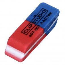 ClipStudio Ластик скошенный красно-синий, для карандашей и чернил, 60 штук в коробке