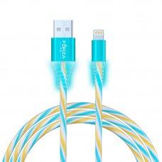 FORZA Кабель для зарядки iP, Конфетти, 1м, 1.5А, цветной с подсветкой