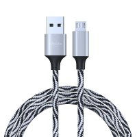 FORZA Кабель для зарядки Micro USB, Серпантин, 1м, 1,5А, тканевая оплетка, 5 цветов