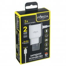 FORZA Зарядное устройство USB с кабелем для зарядки, микс iP и Micrо USB, 220В, 2USB, 2А, 1м