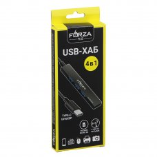 FORZA USB-хаб 4 в 1, 3xUSB 2.0, 1xMicro-SD, штекер Type-C, корпус металлик, пластик