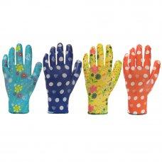 INBLOOM Перчатки садовые с нитриловым полуобливом, полиэстер, 9 размер, 23см, 31гр, цветные