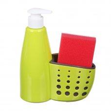 VETTA Диспенсер для мыла с губкой в комплекте, пластик, 16х7х19см