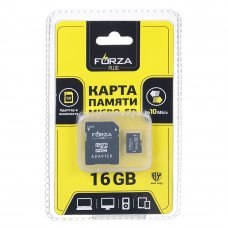 FORZA Карта с адаптером, Micro SD, 16Гб, 10класс