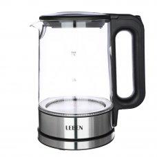 LEBEN Чайник электрический 1,7л, 1800Вт, скрытый нагр.элемент, автооткл., металл, стекло