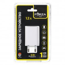 FORZA Зарядное устройство USB «Комфорт», 220В, 1USB, 1.2A, пластик, белое