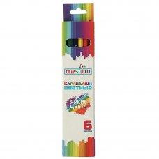 ClipStudio Карандаши 6 цветов шестигранные заточ., пластик, в карт.кор. с подвесом