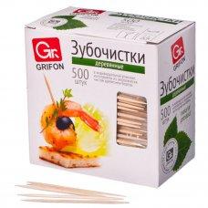 GRIFON Зубочистки из дерева 500шт, в индивидуальной п/э упаковке, 400-512