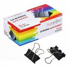 ClipStudio Набор зажимов для бумаг металлических, 25мм, черные, 12шт в картонной коробке