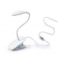 FORZA Лампа настольная с зажимом, питание USB, кабель 1.4М, 14LED, 600Lux, белая, пластик