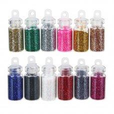 """ЮниLook Декор для дизайна ногтей в баночках """"Блёстки"""", 12шт, разноцветные"""