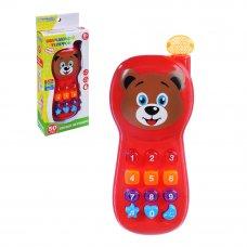 ИГРОЛЕНД Игрушка электронная телефон обучающий, свет, звук, ABS, пит. 2АА, 17,8х7,3х3,5см